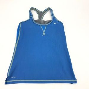 Nike Women's Tank Top Blue Shelf Bra Size Medium